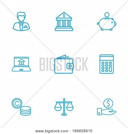Set Of 9 Finance Outline Icons Set.Collection Of Wallet, Justice, Internet Banking And Other Elements.
