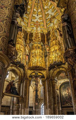 TOMAR,PORTUGAL - MAY 11,2017 - Inside of round church in Convent of Christ in Tomar. The Convent of Christ is a former Roman Catholic convent/monastery in Tomar.