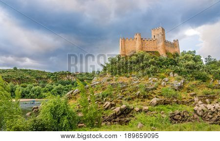 ALMOUROL,PORTUGAL - MAY 11,2017 - View at the Castle of Almourol. The Castle of Almourol is a medieval castle located on a small islet in the middle of the Tagus River