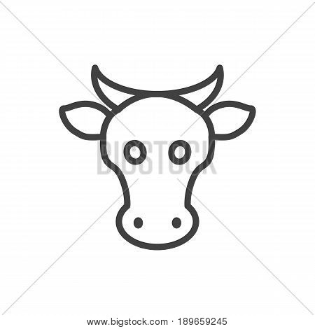 Isolted Kine Outline Symbol On Clean Background. Vector Cow Element In Trendy Style.
