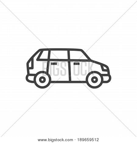 Isolted Automobile Outline Symbol On Clean Background. Vector Car Element In Trendy Style.