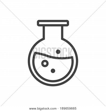 Isolted Flask Outline Symbol On Clean Background. Vector Test Tube Element In Trendy Style.