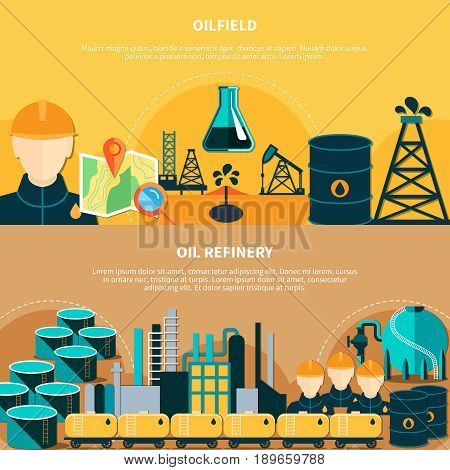 Oil industry banners set with flat images of oil derricks steel barrels transportation and refinery operations vector illustration