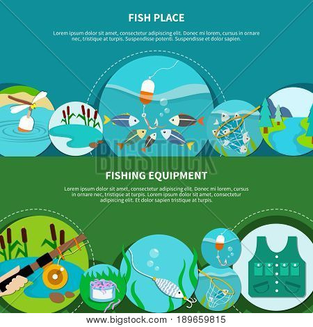 Fishing equipment banners set with doodle style circle images of fish net ledger hook and text vector illustration