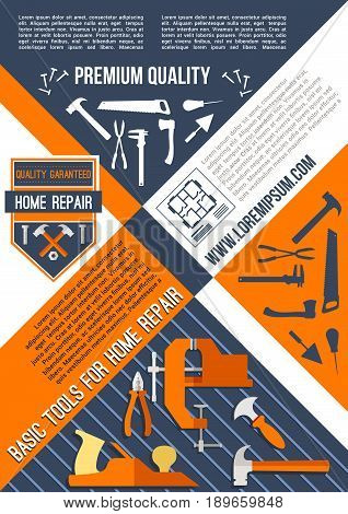 Home repair and house construction or carpentry poster of work tools. Vector design of toolbox kit for carpentry and painting, screwdriver and pliers, measure ruler and plaster trowel or paint brush