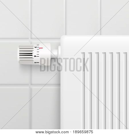 Hot water heating radiator temperature control knob closeup realistic image with tiled wall background vector illustration
