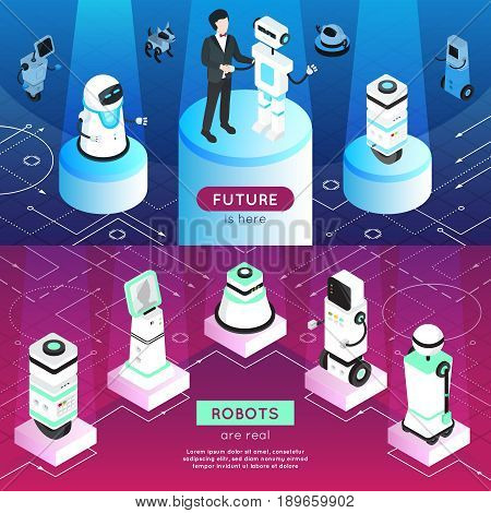 Robots horizontal isometric banners with man, high tech machines on pedestals in light rays isolated vector illustration