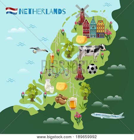 Holland travel sightseeing map with culture traditions national cheese beer clogs tulips and windmills symbols vector illustration
