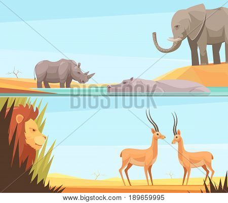 Two horizontal wild animal banners set with flat images of prey and beast animals with tropical landscape vector illustration
