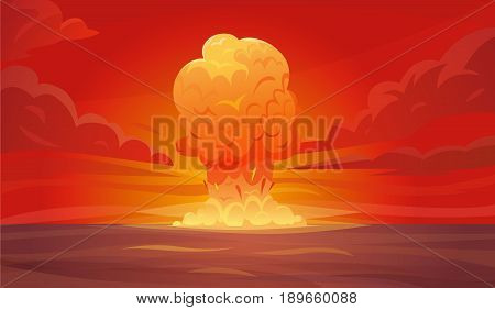 Colored red nuclear explosion composition or poster with column of smoke rising vertically into the sky vector illustration