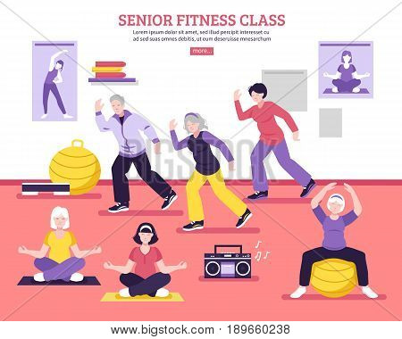 Seniors group fitness class flat webpage design poster with yoga asanas aerobic and balance exercises vector illustration