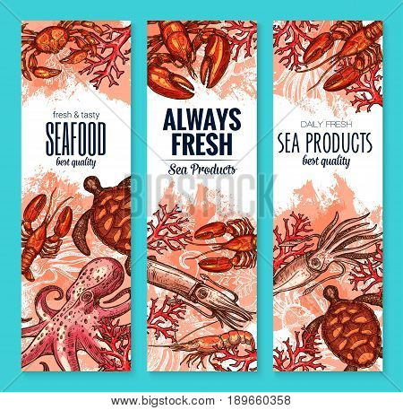 Fresh seafood banners set of fish and sea food. Vector fishing big catch of lobster, crab or shrimp prawns, turtle, octopus and mussels or oyster, salmon fish and tuna for restaurant or fishery market