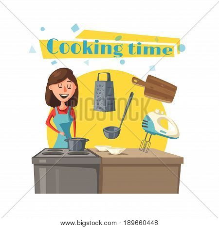Housewife at kitchen cooking meal dishes or soup on stove in saucepan or frying pan. Vector poster of Mother or wife woman at home, tableware or dishware mixer, rolling pin or ladle and grater