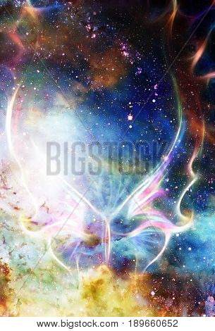 light butterfly in cosmic space and fire flame. Color cosmic abstract background