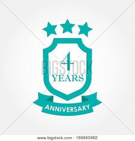 4 years anniversary icon or emblem. 4th anniversary label. Celebration invitation and congratulation design element. Colorful vector illustration.