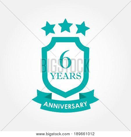 6 years anniversary icon or emblem.6th anniversary label. Celebration invitation and congratulation design element. Colorful vector illustration.