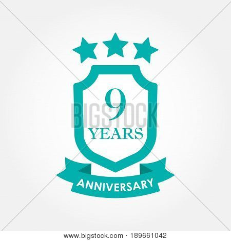 9 years anniversary icon or emblem. 9th anniversary label. Celebration invitation and congratulation design element. Colorful vector illustration.
