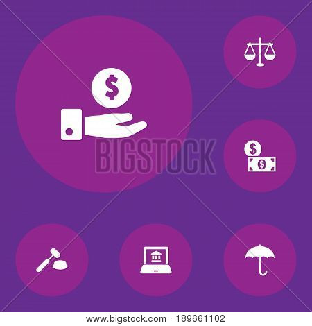 Set Of 6 Budget Icons Set.Collection Of Electron Report, Judge, Balance And Other Elements.