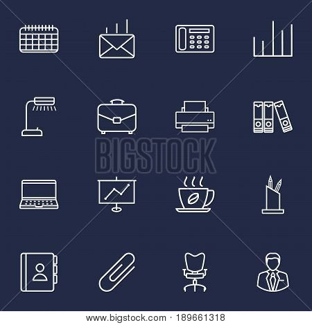 Set Of 16 Bureau Outline Icons Set.Collection Of Date, Post, Hot Drink And Other Elements.