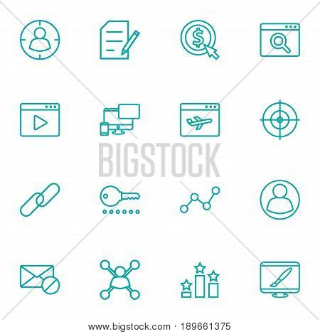 Set Of 16 Engine Outline Icons Set.Collection Of Guest, Arrangement, Cost Per And Other Elements.