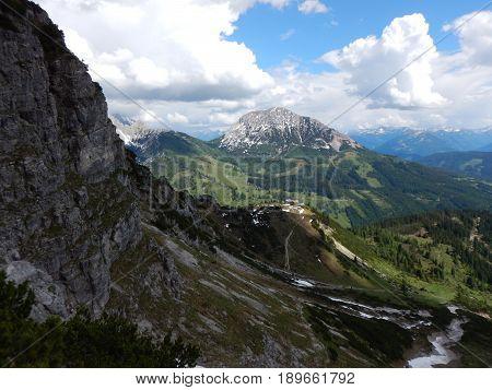 Alpine Lansdcape Around Grosse Bischofsmutze In Dachsteingebirge In Austria