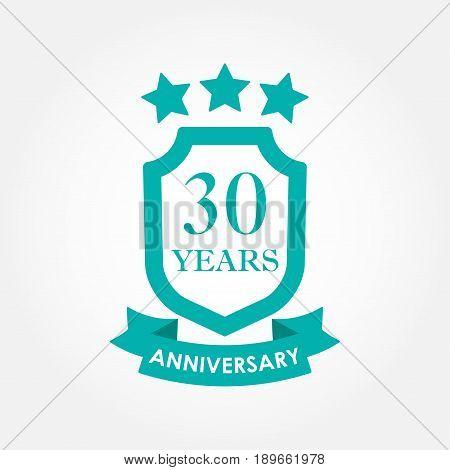30 years anniversary icon or emblem. 30th anniversary label. Celebration invitation and congratulation design element. Colorful vector illustration.