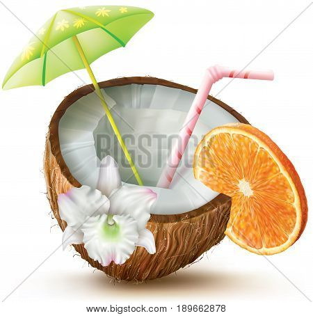 Exotic coconut cocktail with orange and orchid flower. vector illustration
