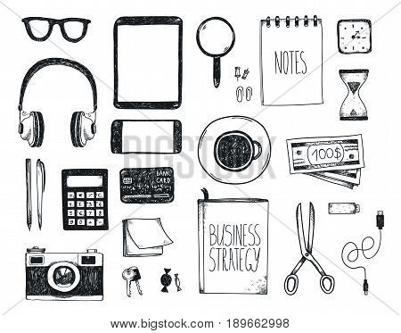 Vector set of hand drawn office tools. Freelance, tools for making business online, entrepreneur. Mock up, top view. Black and white.