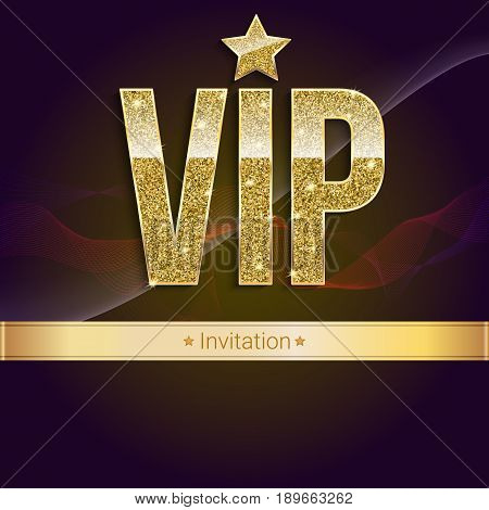 Golden symbol of exclusivity, the label VIP with glitter. Very important person - VIP invitation on elite, abstract a wave of smoke background, luxury card. Template for vip banners, invitation, cover