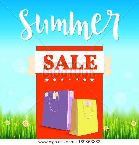 Summer sale banner. Vintage style text poster with graphic elements, blue summer sky, green, lush grass, daisies and ladybugs. Template, mock-up online shopping, advertising, magazines.