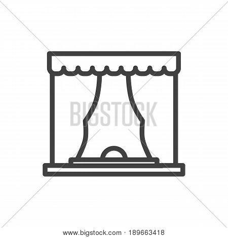 Isolted Curtain Outline Symbol On Clean Background. Vector Theater Element In Trendy Style.