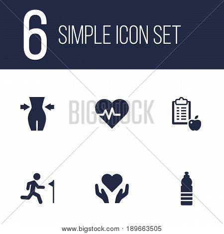 Set Of 6 Training Icons Set.Collection Of Drink, Hartbeat, Slimming And Other Elements.
