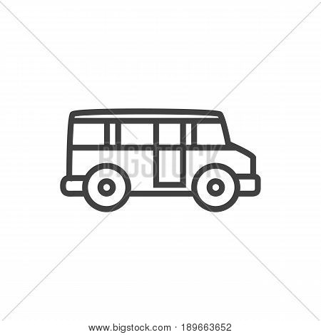 Isolted School Autobus Outline Symbol On Clean Background. Vector Bus Element In Trendy Style.
