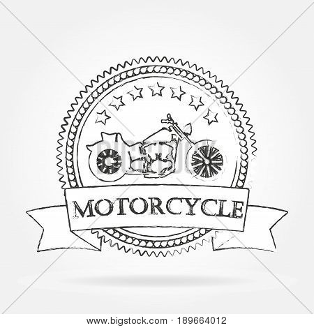 Motorcycle label. Vintage motorcycle or chopper emblem badge banner. Hand drawn design. Vector illustration.