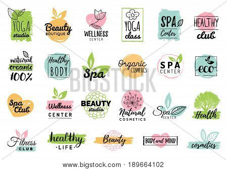 Vector health and beauty care logotypes or labels. Spa, yoga centers badges. Wellness signs. Hand drawn tags and elements set for organic cosmetics, natural products.