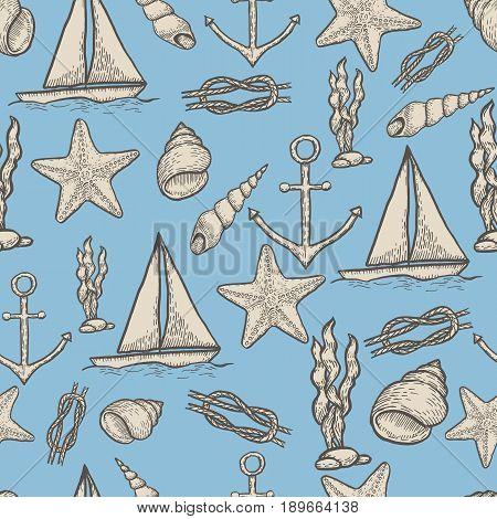 Naval hand drawing seamless pattern. Vintage vector illustration