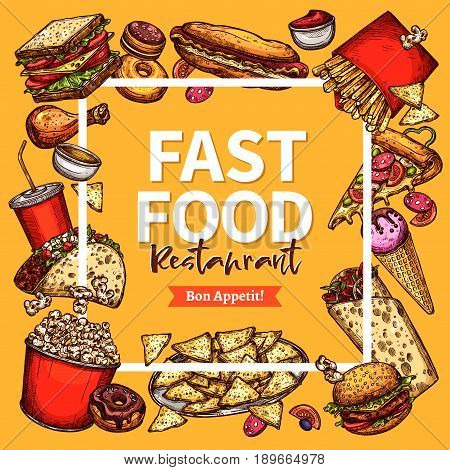 Fast food restaurant poster or menu. Vector design template of hot dog and burger sandwiches, cheeseburgers and pizza or popcorn. Fastfood french fries and chicken wings snacks or ice cream dessert