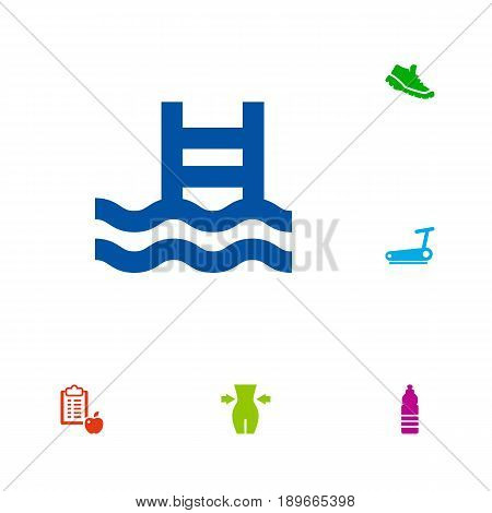 Set Of 6 Fitness Icons Set.Collection Of Regime, Sneakers, Basin And Other Elements.