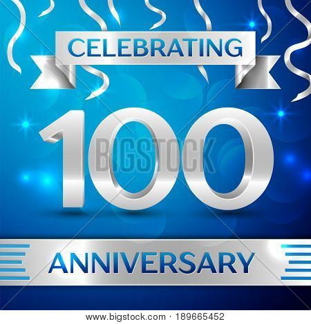 Hundred Years Anniversary Celebration Design. Confetti and silver ribbon on blue background. Colorful Vector template elements for your birthday party. Anniversary ribbon