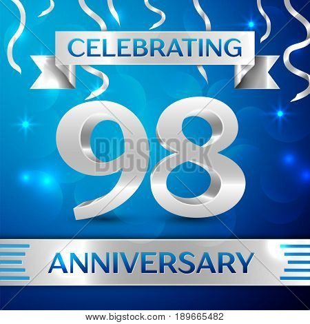 Ninety eight Years Anniversary Celebration Design. Confetti and silver ribbon on blue background. Colorful Vector template elements for your birthday party. Anniversary ribbon