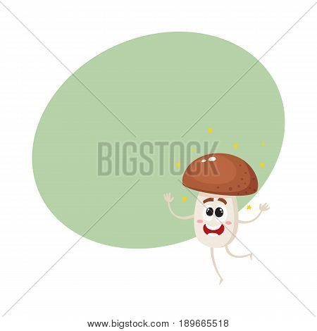 Funny porcini mushroom character shining from happiness, jumping excitedly, cartoon vector illustration with space for text. Happy porcini mushroom character jumping happily