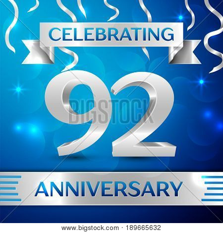 Ninety two Years Anniversary Celebration Design. Confetti and silver ribbon on blue background. Colorful Vector template elements for your birthday party. Anniversary ribbon
