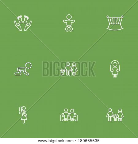 Set Of 9 Family Outline Icons Set.Collection Of Crawling Kid, Pregnant Woman, Skipping Rope And Other Elements.