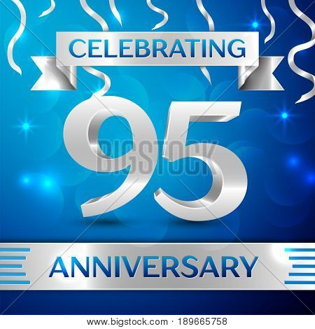 Ninety five Years Anniversary Celebration Design. Confetti and silver ribbon on blue background. Colorful Vector template elements for your birthday party. Anniversary ribbon