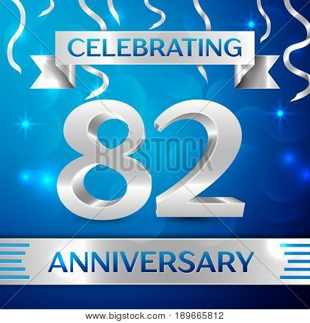 Eighty two Years Anniversary Celebration Design. Confetti and silver ribbon on blue background. Colorful Vector template elements for your birthday party. Anniversary ribbon