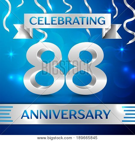 Eighty eight Years Anniversary Celebration Design. Confetti and silver ribbon on blue background. Colorful Vector template elements for your birthday party. Anniversary ribbon