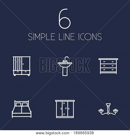 Set Of 6 Situation Outline Icons Set.Collection Of Chandelier, Closet, Drawer Unit Elements.