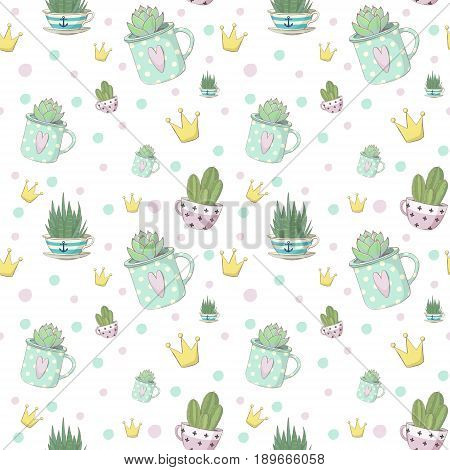 Cute vector seamless pattern with small succulents in striped teacups and teacup in polka dot design. A small haworthia aloe vera echeveria and crowns. Design for greeting cards wrapper fabric and other objects for fans of succulents childrens and not onl