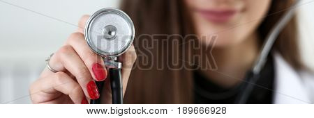 Female Medicine Doctor Hand Holding Stethoscope Head