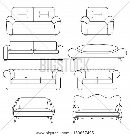Sofa icon line set. Modern vintage and retro sofa collection. Furniture outline symbols. Vector illustration.